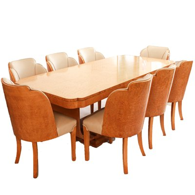 Art Deco Dining Table & 8 Chairs Set by Harry & Lou Epstein, 1930s