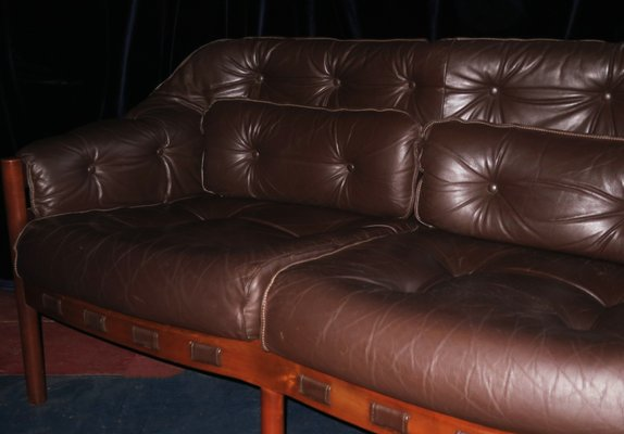 Dark Brown Leather Sofa, 1960s