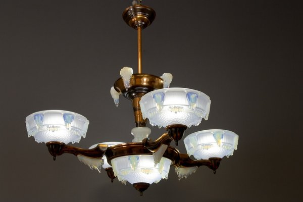 French Art Deco Seven Light Copper and Opalescent Glass Chandelier by Ezan, 1930