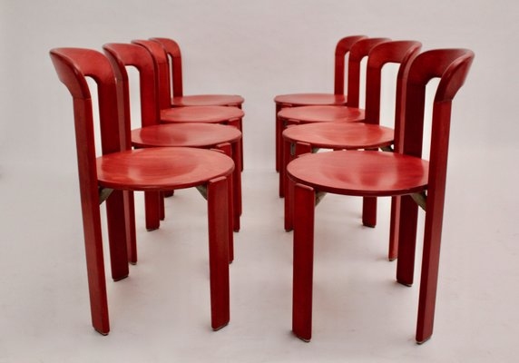 Awesome Vintage Red Dining Chairs By Bruno Rey For Dietiker Set Of 10 Evergreenethics Interior Chair Design Evergreenethicsorg