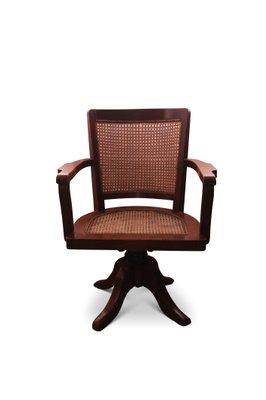 Antique Oak Cane Swivel Desk Chair