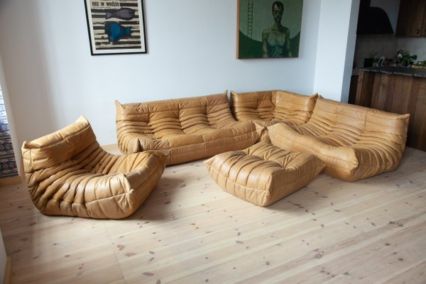 Leather Togo Living Room Set by Michel Ducaroy for Ligne Roset, 1990s, Set  of 5