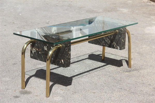 Vintage Rectangular Italian Marble And Glass Coffee Table For Sale