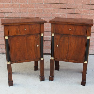 Antique Empire Walnut Nightstands Set Of 2 For Sale At Pamono