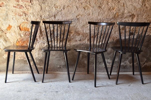 Marvelous Vintage Scandinavian Black Dining Chairs 1960S Set Of 4 Forskolin Free Trial Chair Design Images Forskolin Free Trialorg