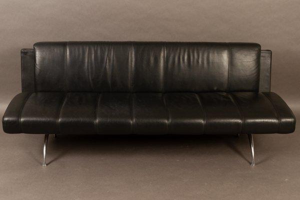 Italian Black Leather Sofa by Rodolfo Dordoni for Moroso, 1990s