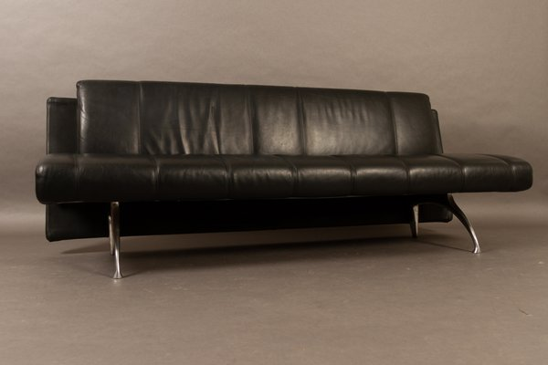 Italian Black Leather Sofa by Rodolfo Dordoni for Moroso, 1990s