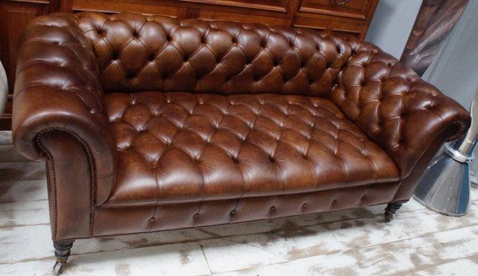 Pleasant Antique Brown Leather Chesterfield Sofa Pabps2019 Chair Design Images Pabps2019Com