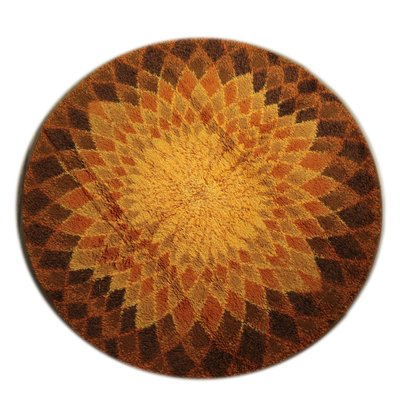 Vintage Shaggy Round Rug 1980s For