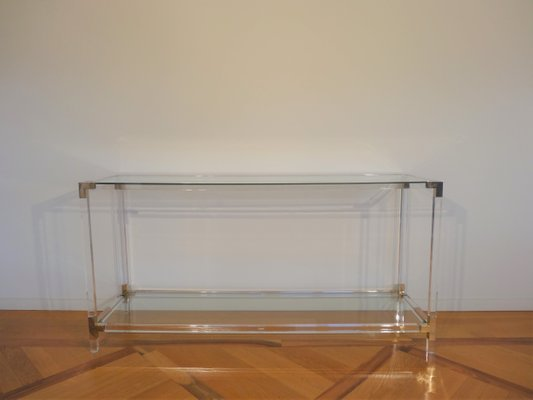 Vintage Lucite Br Gl Console Table From Maison Jansen 1970s