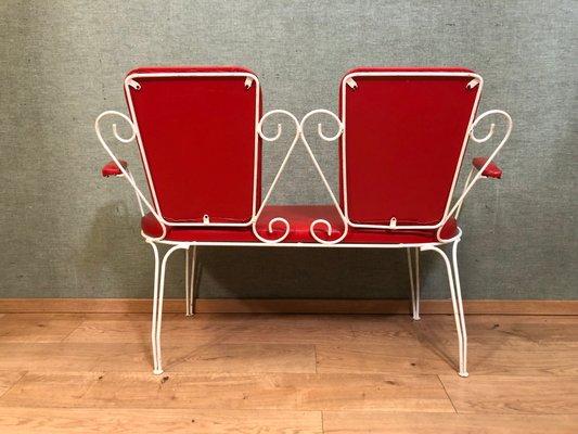 Sedie da giardino Mid Century, panca e tavolo, set di 4