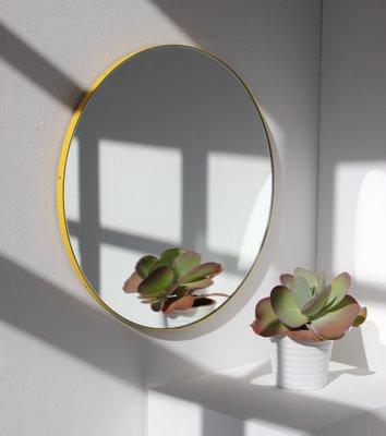 Großer Runder Orbis Spiegel Mit Gelbem Rahmen Von Alguacil Perkoff