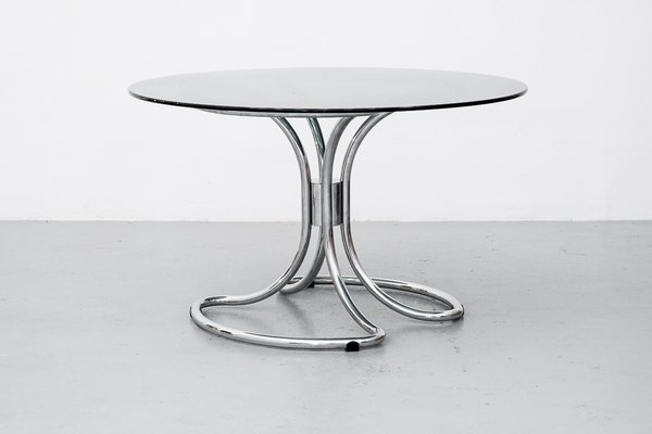 Chrome Smoked Glass Dining Table By Giotto Stoppino For Sale At Pamono