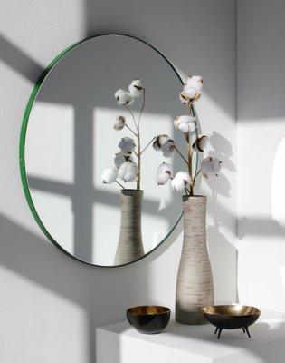 Extra Großer Runder Orbis Spiegel Mit Grünem Rahmen Von Alguacil Perkoff