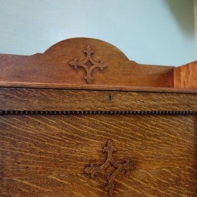 Antique Victorian Gothic Oak Secretaire