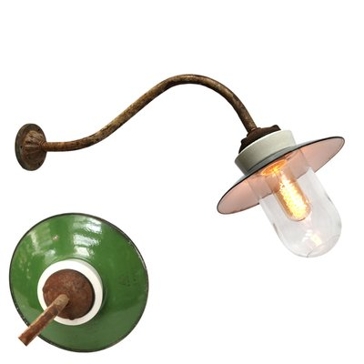 Vintage Industrial Green Enamel Porcelain Glass And Cast Iron Wall Lamp 1950s