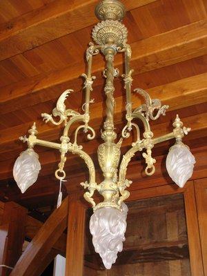 Vintage Bronze Dragon Decor Chandelier For Sale At Pamono