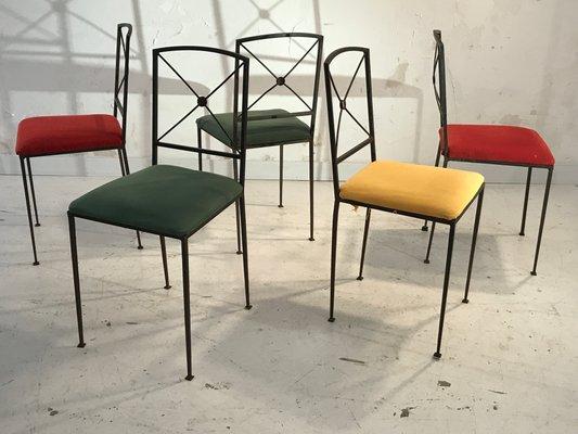 Sedie In Ferro Vintage.Sedie Da Pranzo Vintage Art Deco In Ferro Francia Anni 50 Set