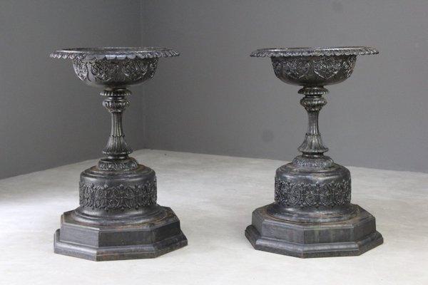 Antique Victorian Cast Iron Garden Urns