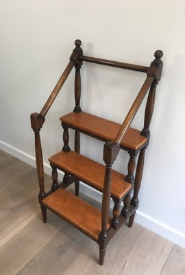 Excellent Antique French Wood And Leather Library Step Ladder 1900S Spiritservingveterans Wood Chair Design Ideas Spiritservingveteransorg