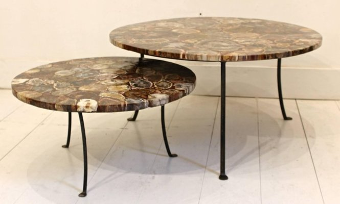 Vintage Petrified Wood And Wrought Iron Coffee Tables Set Of 4