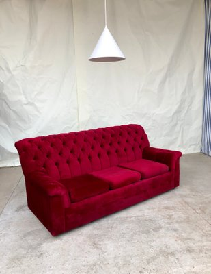 Red Velvet Chesterfield Sofa, 1980s