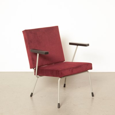 Pleasing Dutch Model 1401 Burgundy Red Velvet Armchair By Wim Rietveld For Gispen 1950S Theyellowbook Wood Chair Design Ideas Theyellowbookinfo