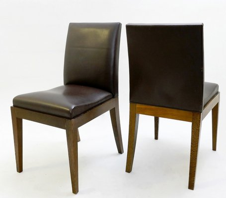 Amazing Vintage Brown Leather Dining Chairs By Christian Liaigre For Holly Hunt Set Of 6 Cjindustries Chair Design For Home Cjindustriesco
