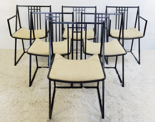 Vintage Black Metal Dining Chairs Set