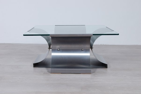Steel And Glass Coffee Table By Francois Monnet For Kappa 1970s For Sale At Pamono
