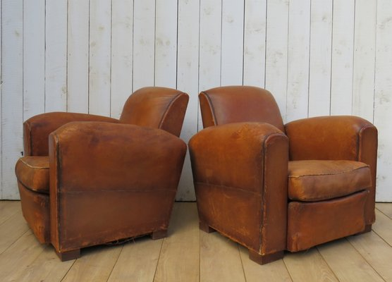 Phenomenal Vintage French Leather Club Chairs 1920S Set Of 2 Machost Co Dining Chair Design Ideas Machostcouk