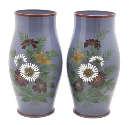 Antique Hand Painted Fl Vases Set