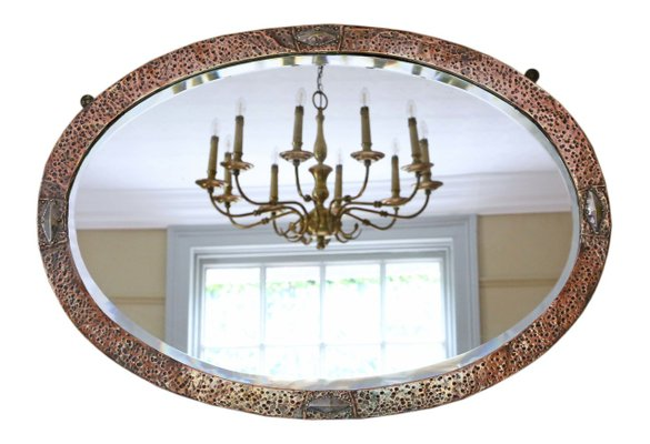 Antique Art Nouveau Copper And Brass, Vintage Brass Mirror Wall Hanging