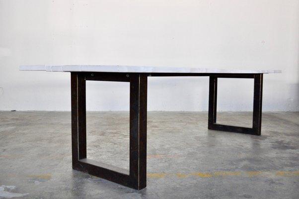 Table de Salle à Manger en Laque Blanche et Métal d\'Atelier Borella