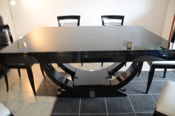 Piano Black Dining Table Chairs Set