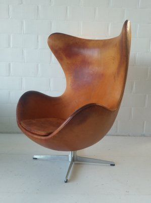 Egg Chair Cognac.Mid Century Danish Cognac Leather Egg Chair By Arne Jacobsen For