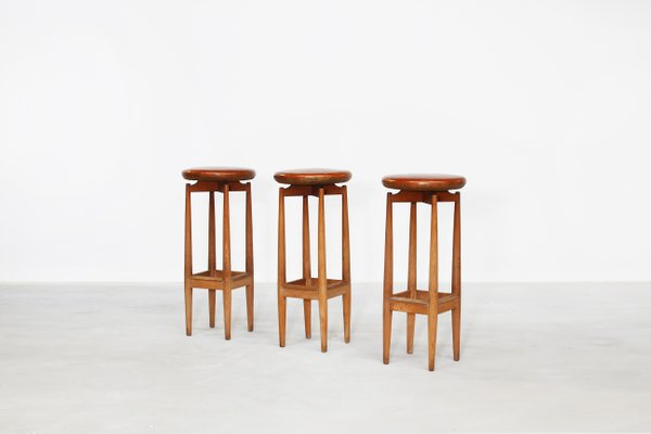 Incredible Mid Century Danish Oak And Leather Bar Stools Set Of 3 Machost Co Dining Chair Design Ideas Machostcouk