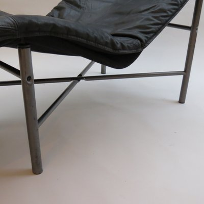 Swedish Black Leather Chaise Lounge By Tjord Bjorklund For Ikea 1970s