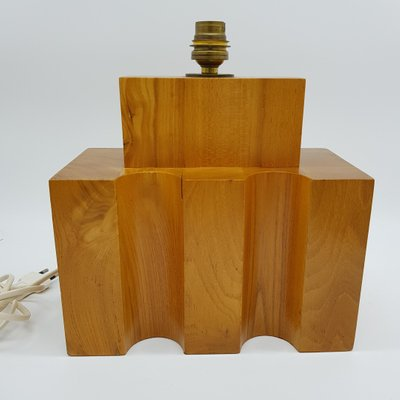 Solid Wood Table Lamp From Maison Regain 1970s