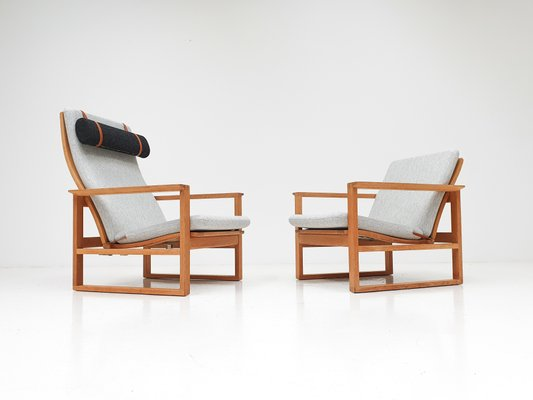 danish oak sled lounge chairs by borge mogensen for fredericia 1950s set of 2