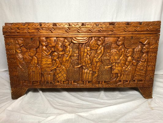 Oriental Wood Trunk Or Coffee Table 1970s