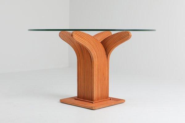 Vintage Esstisch mit Gestell aus Rattan, 1970er