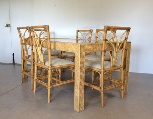 Stupendous Bamboo Dining Table Chairs Set From Vivai Del Sud 1970S Set Of 7 Caraccident5 Cool Chair Designs And Ideas Caraccident5Info