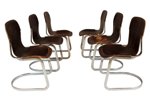 Fabulous Chrome And Leather Dining Chairs By Willy Rizzo For Cidue 1970S Set Of 6 Beatyapartments Chair Design Images Beatyapartmentscom