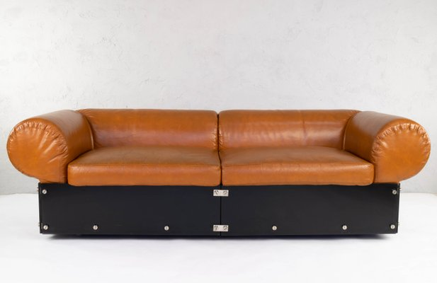 Tremendous Vintage Italian Faux Leather And Brown Methacrylate Sofa 1970S Cjindustries Chair Design For Home Cjindustriesco