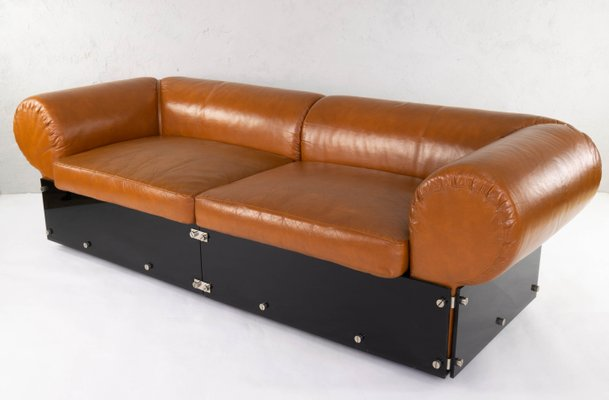 Marvelous Vintage Italian Faux Leather And Brown Methacrylate Sofa 1970S Cjindustries Chair Design For Home Cjindustriesco