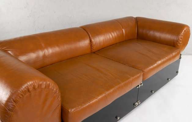 Superb Vintage Italian Faux Leather And Brown Methacrylate Sofa 1970S Cjindustries Chair Design For Home Cjindustriesco