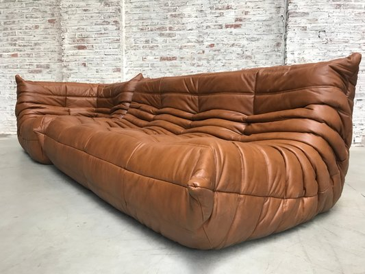 Pleasant Dark Cognac Leather Togo Sofas Living Room Set By Michel Ducaroy For Ligne Roset 1970S Pabps2019 Chair Design Images Pabps2019Com