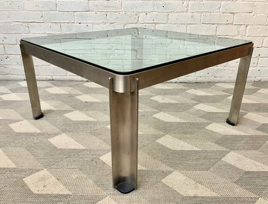 Vintage Industrial Steel And Glass Coffee Table For Sale At Pamono