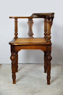 Antique Art Nouveau Walnut Desk Chair 1900s